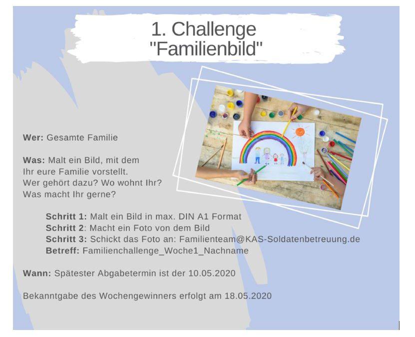 """KAS Familien Challenge 2020 für Bundeswehrfamilien – Die 1. Challenge: """"Familienbild"""""""