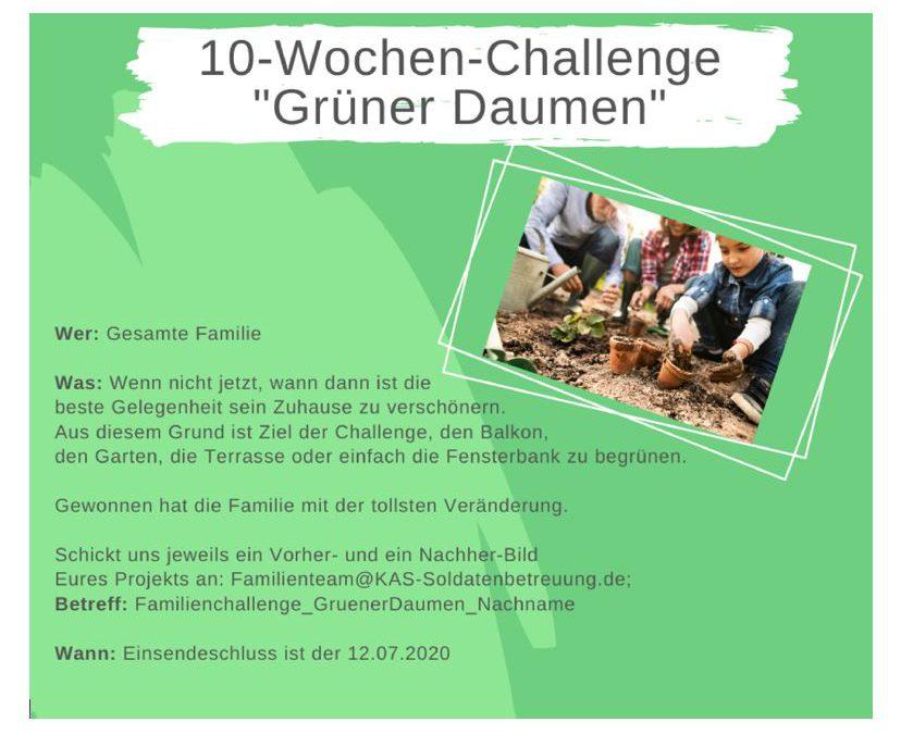 """KAS Familien Challenge 2020 für Bundeswehrfamilien – Die 10-Wochen-Challenge: """"Grüner Daumen"""""""