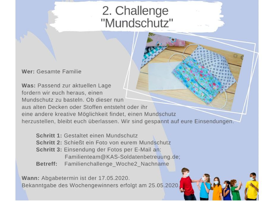 """KAS Familien Challenge 2020 für Bundeswehrfamilien – Die 2. Challenge: """"Mundschutz"""""""
