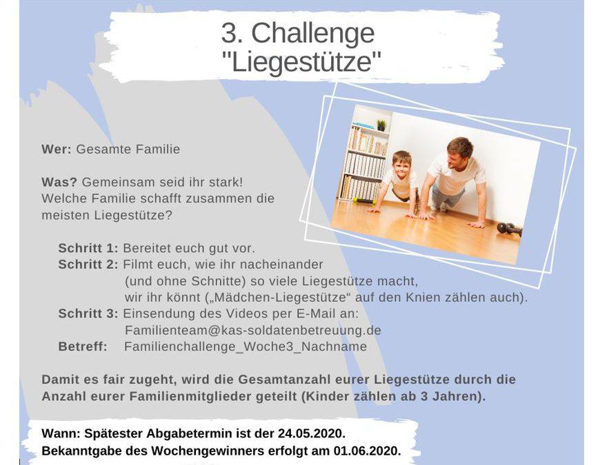 """KAS Familien Challenge 2020 für Bundeswehrfamilien – Die 3. Challenge: """"Liegestütze"""""""