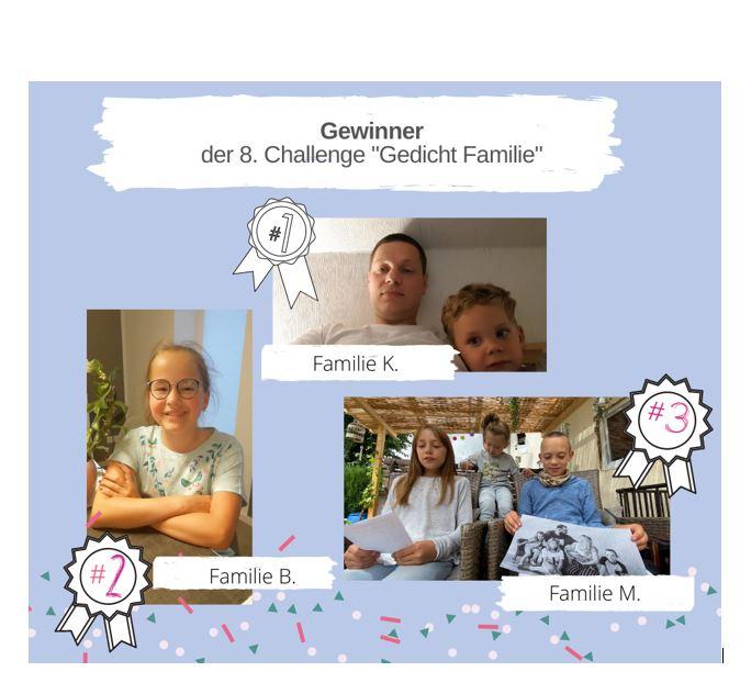 """KAS Familien Challenge 2020: Die Sieger der 8. Challenge """"Gedicht Familie"""" stehen fest!"""
