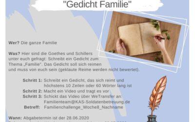 """KAS Familien Challenge 2020 für Bundeswehrfamilien – Die 8. Challenge: """"Gedicht Familie"""""""